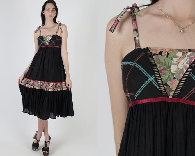 Black Gauze Shoulder Ties Garden Floral Dress / Crochet Ladder Lace Trim / Vintage Sheer 70s Garden Flowey Tiered Sun Mini Midi Dress by americanarchive