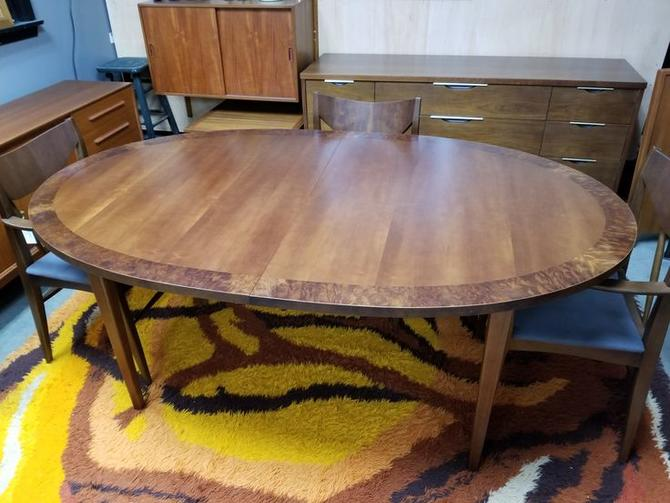 "Mid-Century Modern oval walnut dining table with 2 18""leaves"