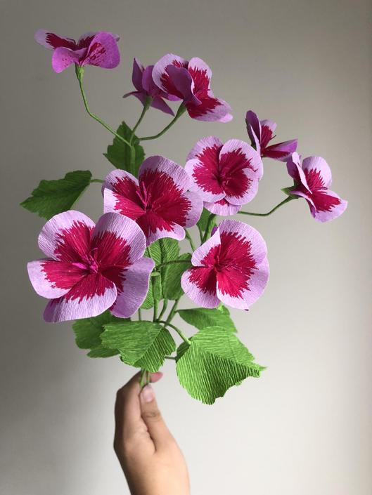 Crepe Paper Geranium -- Paper Flowers - Home Decor - Weddings - Florist Wholesale by ReveryPaperFlora