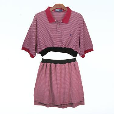 2pc Red Striped Ralph Lauren Knit Dress Set