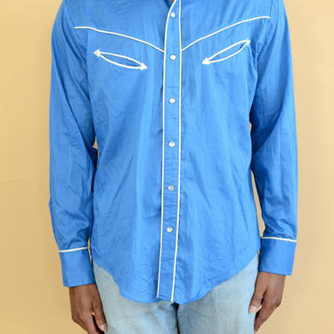 Vintage Blue Button Down Western Chambray Workwear Shirt Snap Button Large Oversize by MAWSUPPLY
