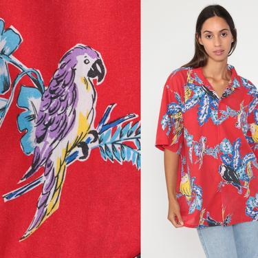 Parrot Shirt Tropical Surfer Bird Print HAWAIIAN Blouse 80s Top Red Button Up Jungle Short Sleeve Surfer Men's Extra Large xl by ShopExile