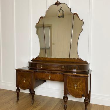 NEW - 1931 Vanity with Mirror, Antique Dresser, Vintage Bedroom, Dressing Table, Solid Wood Furniture by ForeverPinkVintage