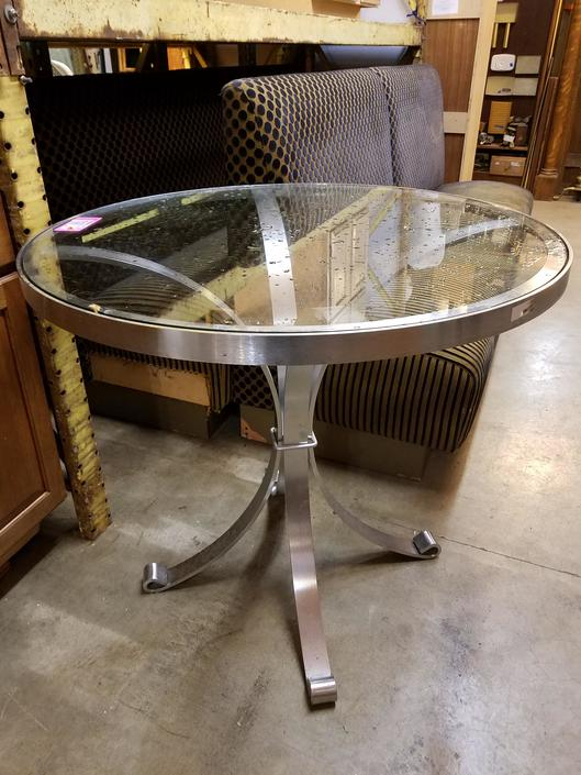 Steel and glass table 36dia x 32