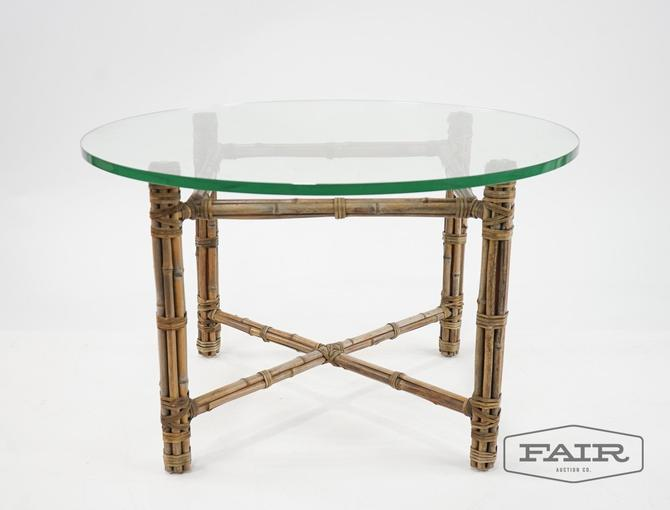 McGuire Rattan and Glass Top Coffee Table