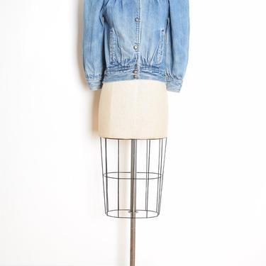 vintage 80s jean jacket denim puffed sleeve cropped coat stone acid wash M clothing by huncamuncavintage