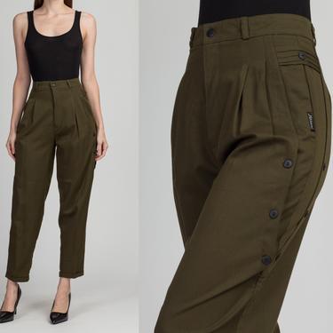 "Vintage Olive Green High Waist Button Trim Trousers - Medium, 27.5"" | 80s 90s Pleated Tapered Leg Minimalist Pants by FlyingAppleVintage"