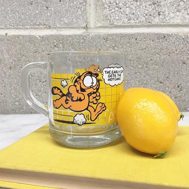 Vintage Garfield Mug Retro 1970s McDonalds + Clear Glass + Jim Davis + Comic + Animated Cartoon + Coffee Cup + Home and Kitchen Decor by RetrospectVintage215