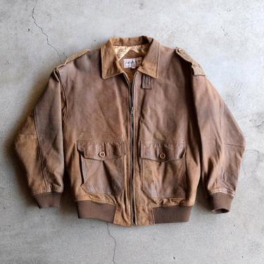 Vintage Changing Scene Leather Bomber Jacket by circlethesquare