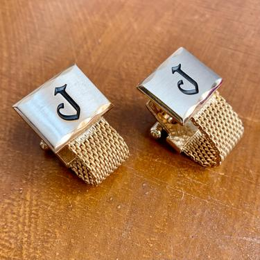 Monogram Cuff Links, Letter J, Wrap Around Cufflinks, Two-Tone Gold / Silver, Vintage 60s 70s by GabAboutVintage
