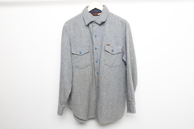 vintage men's 1980s Woolrich style WRANGLER wool blend FLANNEL shirt/jacket -- men's size medium by CairoVintage
