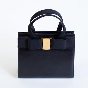 Vintage Salvatore Ferragamo Convertible Vara Bow Tote in Leather with Gold Hardware Minimal 90s Small Top Handle crossbody by backroomclothing