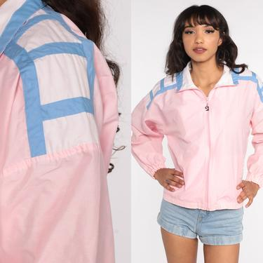 Pierre Cardin Jacket 80s Baby Pink Windbreaker Zip Up Track Jacket Sports 90s Color Block Vintage White Baby Pink Retro Medium by ShopExile