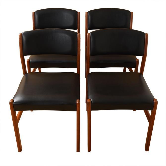 Set of 4 Danish Modern Black + Teak Dining Chairs