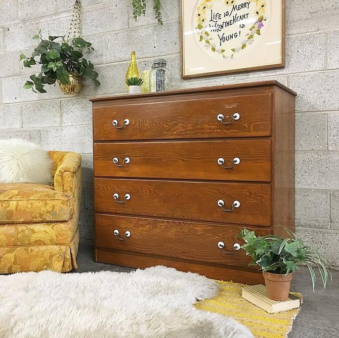 LOCAL PICKUP ONLY Vintage Dresser Retro 1970s Brown Wood Four Drawer Bureau with Wood Grain and Metal Pulls for Bedroom or Clothing Storage by RetrospectVintage215