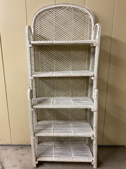 SHIPPING NOT FREE!!! Vintage Wicker Foldable Bookshelf/Hutch painted white/ Need some Tlc!!! by WorldofWicker