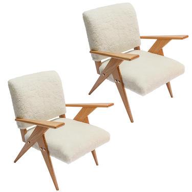 Pair of Custom Mid Century Style Oak & Sheepskin Armchairs