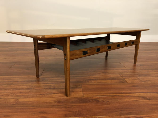 Mid-Century Modern Teak Coffee Table With Leather Storage Shelf by Vintagefurnitureetc