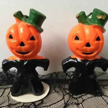 """Vintage 5"""" Gurley JOL Men Candles, Jack O Lantern Man With Green Hat, Set Of Two, Halloween Decor, Vintage Halloween by luckduck"""