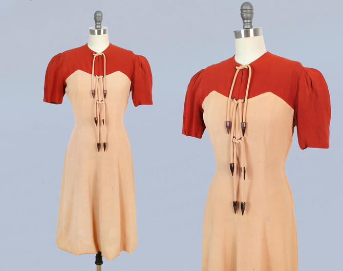 1930s Dress /  30s Sportswear LACE UP Day Dress / Pink and Red Linen Color Block by GuermantesVintage
