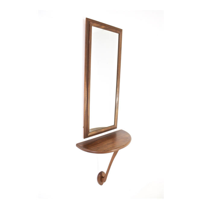 Mid Century Danish Entry Way Mirror and  Shelf Set by SputnikFurnitureLLC