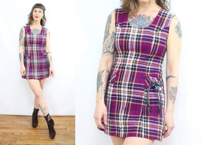 Vintage 60's 70's Purple Plaid Micro Mini Dress / 1960's GOGO Mini Dress / Women's Size XS Small by RubyThreadsVintage