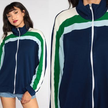Retro Track Jacket Zip Up Sweatshirt 70s Striped Jacket 80s Sport Navy Blue Sweatshirt Retro Vintage Tracksuit Extra Large 2xl xxl xxxl by ShopExile