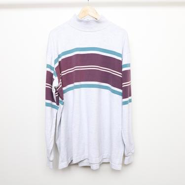vintage 90s mock neck STRIPED RUGBY style shirt sweatshirt -- men's size XXL -- made in the U.S.A. heather grey long sleeve vintage top by CairoVintage