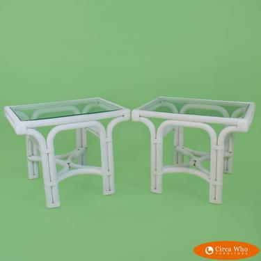 Pair of White Twisted Rattan End Tables