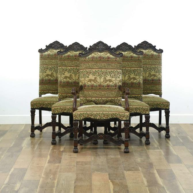 Set Of 6 Carved Wood Dining Chairs W/ Safari Seat