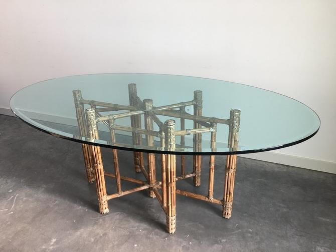 vintage bamboo + glass dining table by McGuire