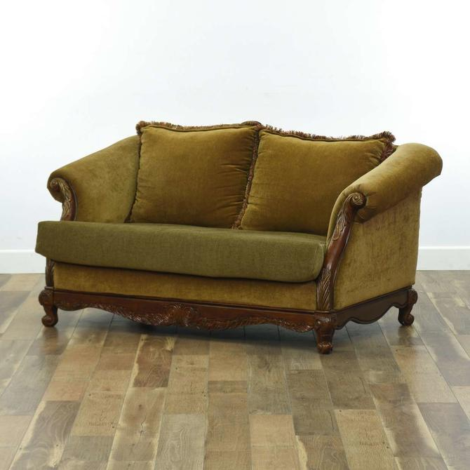 Olive Green Roll Arm Loveseat W/ Carved Wood Frame