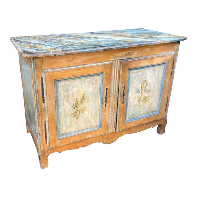 Antique Italian 18th C Tuscan Paint Decorated Sideboard Buffet W Trompe l'Oeil by ThriveDecor