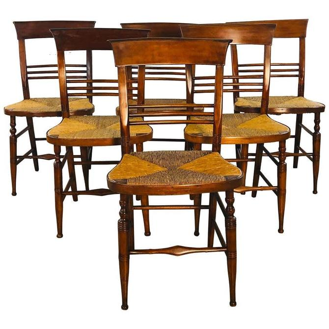 Antique Mahogany Rush Seat Dining Chairs, Set of 6 by 2bModern