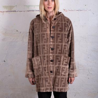 Vintage FENDI Zucca Monogram Brown Hooded Fuzzy Jacket with Oversized Pockets Plush Faux Fur  FF Print sz S M L 90s by backroomclothing