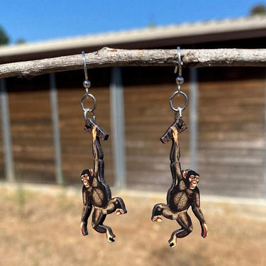 Chimpanzees hanging on your Ear - laser Cut Wood Earrings #1690 by GreenTreeJewelry
