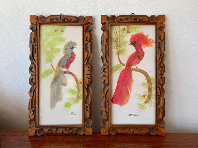 Antique Mexican Artwork Set Of 2 Handmade Feathercraft Bird Wall Art Paintings Pair Of Feather Birds Carved Wood Frames Wall Artwork By