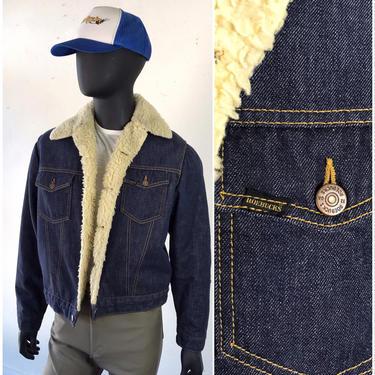 60s 70s Sears and Roebuck Dark Wash Denim Jacket / Sherpa Lined Jacket / Fleece Lined Trucker Jean Jacket /  Large / 42 by AmericanDrifter