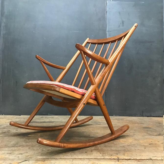1960s Vintage Mid-Century Danish Teak Rocking Chair Armchair Rocker Bramin Denmark Reenskaug Scandinavian by BrainWashington