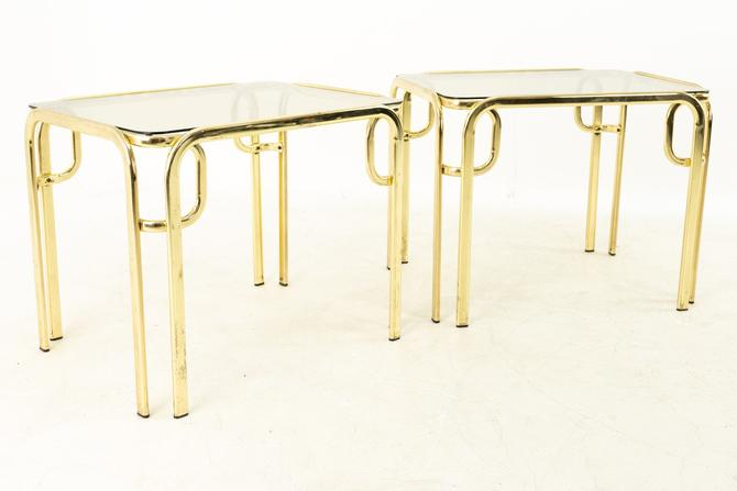 Morex Italian Mid Century Brass and Glass Side End Tables - Pair - mcm by ModernHill
