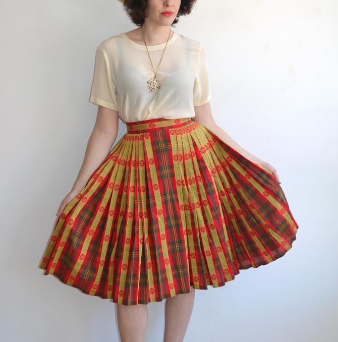 75676ebbf Vintage 50's Plaid Full Pleated Skirt/ Red Yellow Woven 1950s ...