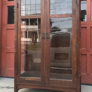 L&JG Stickley China Closet with leaded glass #746 by QuaboagValleyAntique