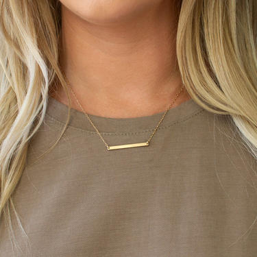 Thin Bar Necklace, Mom Necklace, Date Necklace, Name Necklace, Minimal Bar Necklace, Initials Birthdate Necklace, Silver, Gold, Gift for Her by LEILAjewelryshop