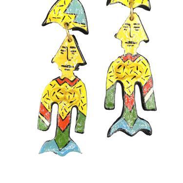 80s Unsigned Hand  Painted Mermaid Earrings