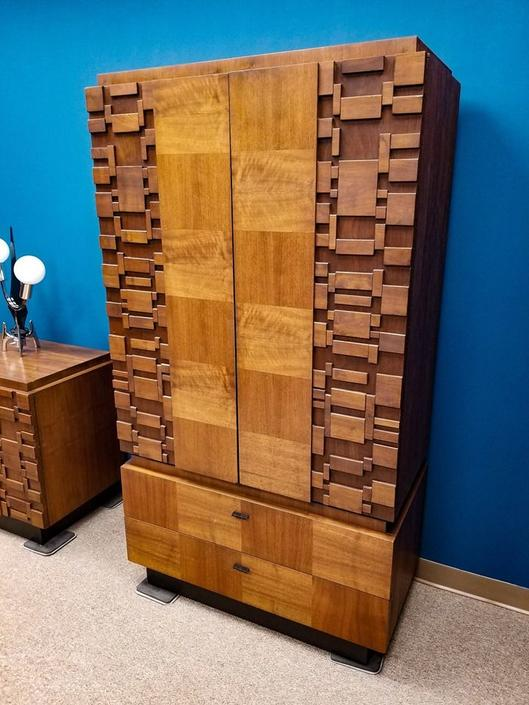 Mid-Century Modern brutalist style armoire by Lane