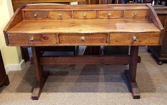 Item #MS1 Antique American Pine Trestle Base Desk