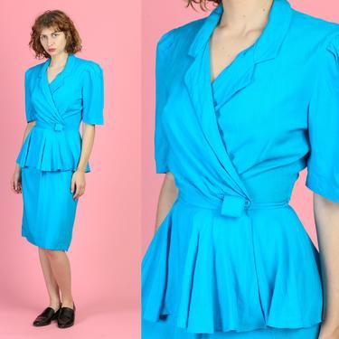 80s Blue Peplum Fitted Waist Dress - Small | Vintage Michelle Stuart Retro Knee Length Wrap Mini by FlyingAppleVintage