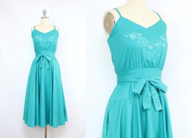 Vintage 80's 90's Turquoise Sun Dress / 1980's Summer Dress with Pockets / Women's Size Small by RubyThreadsVintage