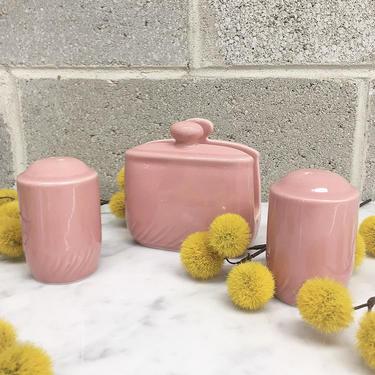 Vintage Table Top Set Retro 1990s Contemporary + Napkin Holder + Salt and Pepper Shakers + Ceramic + Stoneware + Pink + Home + Kitchen Decor by RetrospectVintage215
