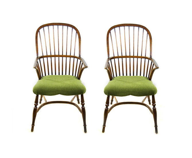 Wooden Bow Back Windsor Chairs with Green Upholstery - A Pair by BluffStProps